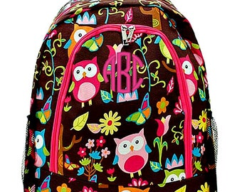 Personalized Backpack Monogrammed Bookbag Owl Brown Hot Pink Large Canvas Kids Tote School Bag Embroidered Monogram Name
