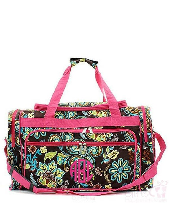 Duffle bag personalized monogrammed brown paisley hot pink
