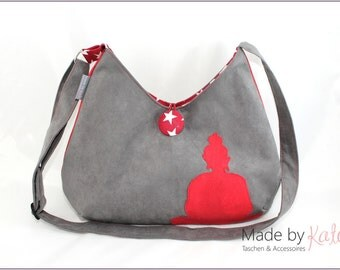 Shoulderbag, bag, cross-body bag, buddha bag, grey bag, individual purse