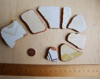 Italian white decorated Sea Pottery/Beach pottery for mosaics, magnets or jewels.