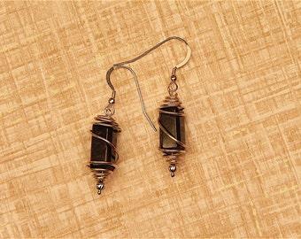Caged jade earrings