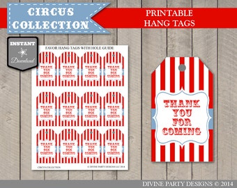 INSTANT DOWNLOAD Circus or Carnival Thank You For Coming Hang Tags/ Printable DIY / Circus Collection / Item #1003