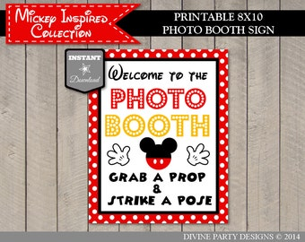 INSTANT DOWNLOAD Mouse Welcome to The Photo Booth / Grab a Prop Strike a Pose / Printable 8x10 / Mickey RYB Collection / Item #1511