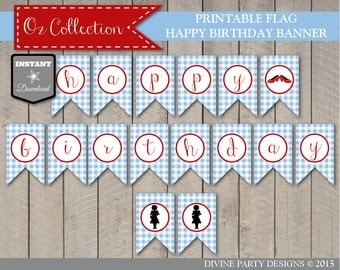INSTANT DOWNLOAD Wizard of Oz Inspired Happy Birthday Flag Banner / Printable DIY / Flag Banner / Oz Collection / Item #103