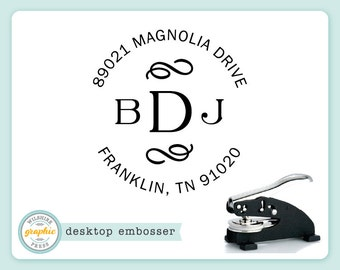 Embosser - FRANKLIN Style - Desk Model - Personalized Monogram Initial Return Address - Embossing Stamp Seal - Wedding Housewarming Gift
