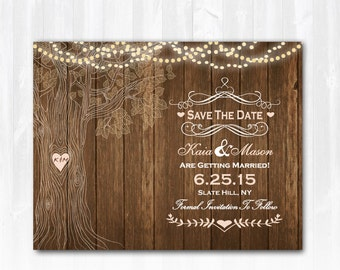 Tree Save The Date Magnet Save The Date Card Rustic Save The Date Wood Save The Date Country Save The Date Printable DIY Digital or Print+