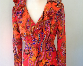 Vintage maxi long sleeved paisley pattern dress