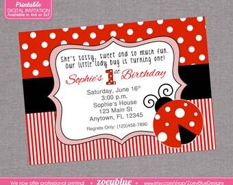 Ladybug Birthday Invitation 1st First Birthday Invitation Lady Bug Invitation Red White Polka Dots Stripes Black Printable Digital File