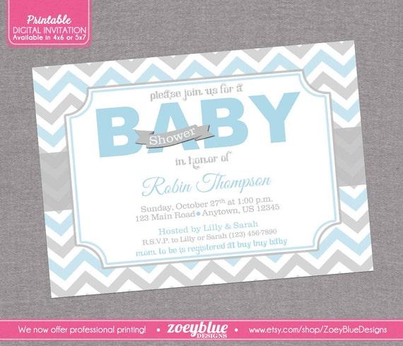 blue and grey chevron baby shower invitation blue pink zig zag