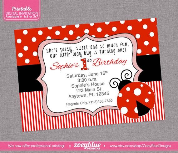 Ladybug Birthday Invitation 1st First Birthday By