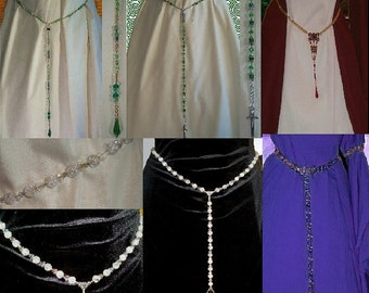 Jewelry Girdle Belt CHOICES Long Medieval Dropwaist SCA Garb Pearls Fanric Crystals Metaltone SHIPCHARGEonly