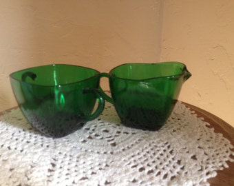 "Vintage Emerald green ""Charm""  pattern Sugar Bowl and Creamer by Anchor Hocking-"