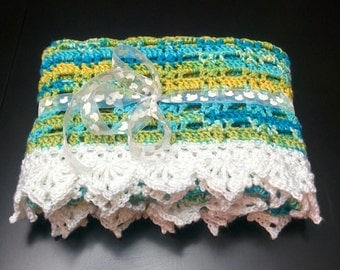 The Moody Blues Baby Afghan  Turquoise, Green & White