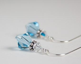 Swarovski Aquamarine Crystal Earrings, Blue Earrings, March Birthstone Earrings, Sterling Silver Earwires