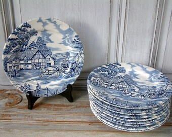 "Set of 10 Vintage French ironstone blue transferware dessert plates from Luneville. ""English Style"". Blue transferware. French transferware"