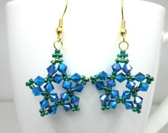 Emerald swarovski earrings, AB 2X aurora borealis swarovski elements star earrings, green star, emerald star, star jewelry ER027