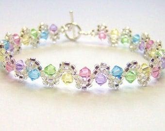 Pastel rainbow bracelet, swarovski elements bracelet, rainbow swarovski, spring bracelet, tennis bracelet, crystal bracelet BR002