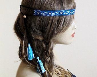 Boho Headband, hippie, Bohemian, tassel headband, hairband, headpiece, Indian, Women, gift ideas, hair accesories, Women's Fashion, trend