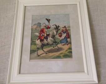 Page from Antique Book of Nursery Rhymes Matted and Framed  1 of 6  14 x 17