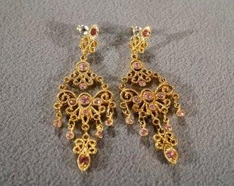Vintage Art Deco Yellow Gold Tone Chandelier Style Pink Rhinestone Pierced Earrings Jewelry        K