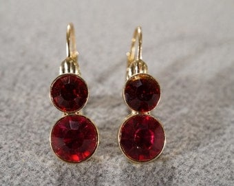 Vintage Art Deco Style Yellow Gold Tone Double Ruby Red Glass Stone Graduating Pierced Earrings Jewelry  K