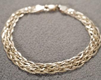 Vintage Art Deco Style Sterling Silver Woven Braided Twisted Bracelet Jewelry   K