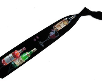 Hand Painted Men Silk Necktie Art Novelty Tie For Wine Lovers TIE ONE ON #1