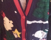 Snoopy and Friends Vintage Christmas Cardigan