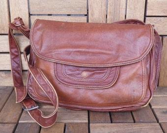 Vintage Brown Amber Leather Bag Shoulder Strap Purse Bag