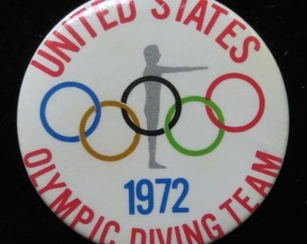 Original 1972  United States Olympic Diving Team Pin Back Button - Free Shipping