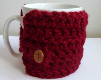 Coffee Cup Cozy Coffee Mug Warmer Crocheted Coffee Cup Cozy Crocheted Coffee Mug Warmer Red Coffee Cup Cozy