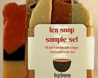 Tea Soap Sample Sets. Set of Three Handmade Cold Processed Soaps. Gifts for Women or Men. Natural Soaps and Skincare.