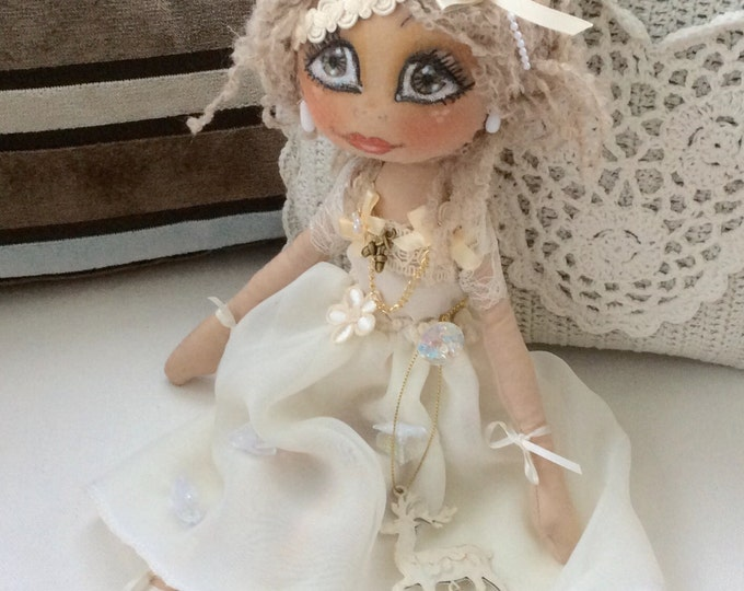 Lillie Mist OOAK art doll with chiffon & lace embellished dress ( on sale )