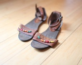 vintage beaded tan leather gladiator sandals womens 7 1/2