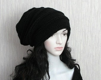 Black Slouchy Hat Woman Slouchy Beanie Teenager Oversized Cap Knit Womens Head Wrap Slouch Men Winter Baggy Fashion