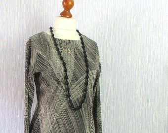 Vintage Cocktail Party Blouse - Vintage Black & Beige ,  Geometric print top, long sleeves