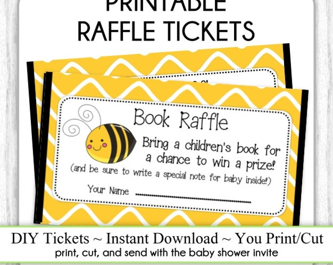 Book Raffle Tickets, Cute Bee Baby Shower, Printable Book Raffle Tickets, Baby Shower Raffle Tickets, YOU PRINT, DIY
