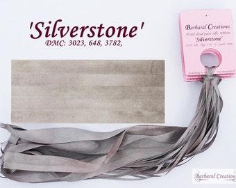 Hand dyed 13 mm wide pure silk ribbon, ruban de soie - 'Silverstone'