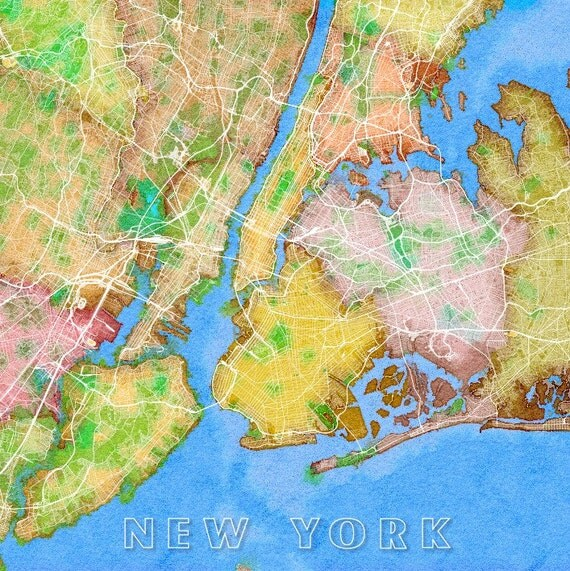 Watercolor New York: New York City Map NYC Watercolor Map New York Map