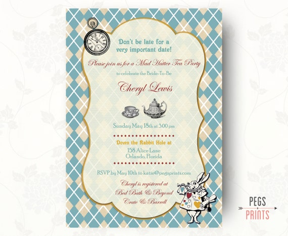 mad hatter tea party invitation birthday party by pegsprints