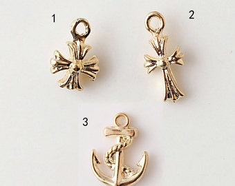 20 pcs of antique gold cross or  anchor charm pendants