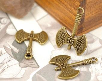 50 pcs of antique bronze axe charm pendant 22x16mm hatchet charm