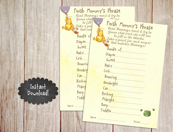 Printable Winnie The Pooh Baby Shower Game By