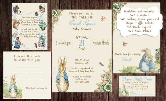 printable peter rabbit baby shower story book baby shower, Baby shower invitations