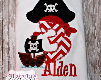 Pirate birthday shirt available numbers 1 to 9