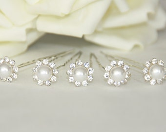 5 bridal bead rhinestone hair pins