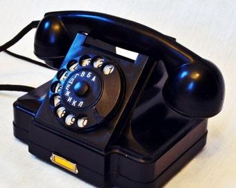 Vintage Rotary Telephone Black Bakelite phone Soviet Vintage USSR 1960 Industrial Office supply movie requisite Steampunk