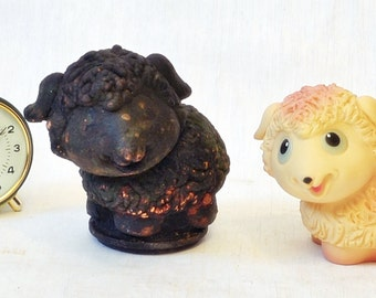 Soviet Vintage Rubber Toy and industrial rare copper mold - sheep
