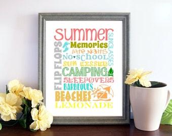 Summer Printable, Home Decor, Summer Subway Art, 5x7, 8x10, Printable Option