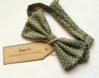 Mens bow tie polka dot, green bow tie, olive green bow tie, cotton bow tie